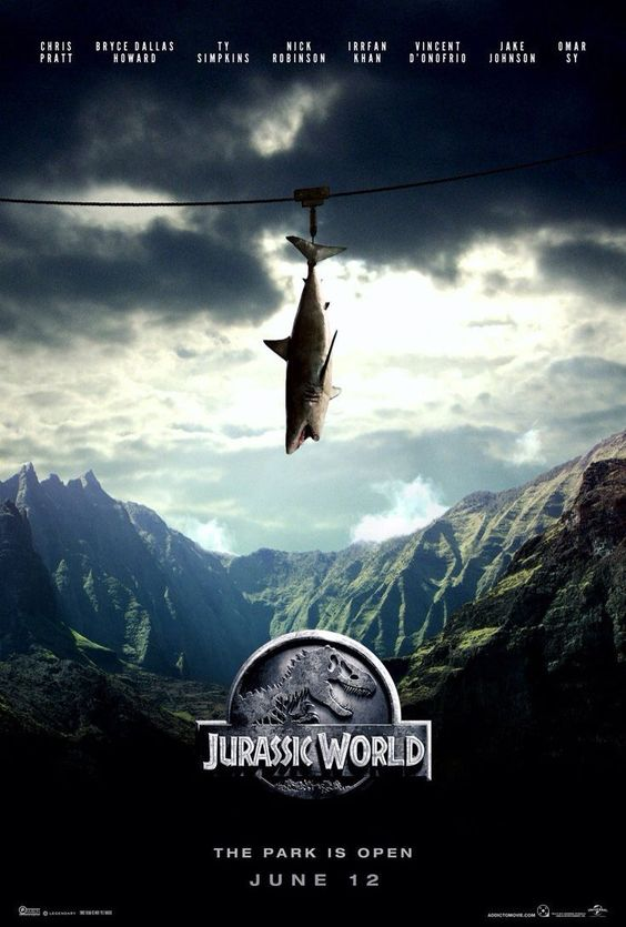 The story is based on a dinosaur which is created at Jurassic World, which is a theme park, located on an island, called Isla Nublar, which was the site of the original Jurassic Park. The Jurassic World contain so many species of Dinosaurs' clones. #JurassicWorld #JurassicWorldPoster #MoviePoster
