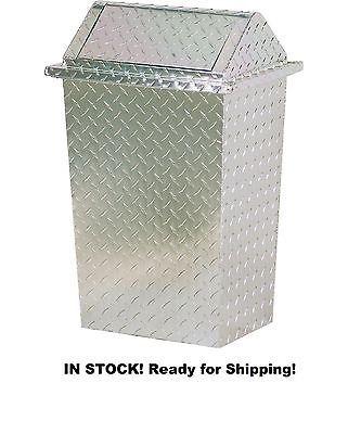 Aluminum Diamond Plate 16 Gallon Trash Can Garbage Waste