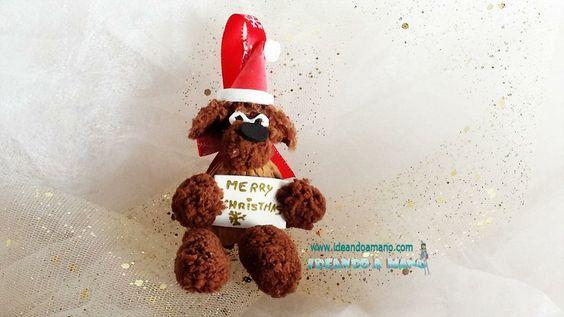 Adorno navideño reciclando cáscaras de nueces