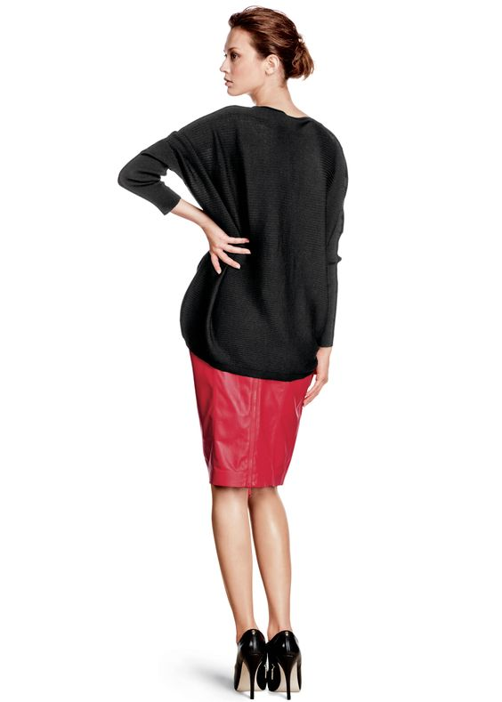 my my my, this is a lovely look and  with the long top I think I could carry ot off with nice tights..but DAMN!..over $1000 for the outfit  Fine Gauge Merino Drop Hem Sweater and Weightless Lambskin Paneled Slim Skirt | Lafayette 148 New York