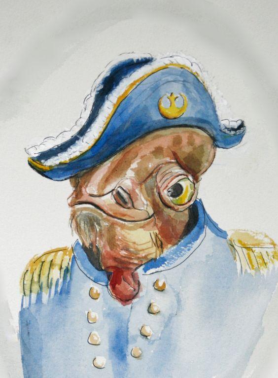 Admiral Ackbar, in uniform, 8x10  print of original watercolor painting. $24.00, via Etsy.