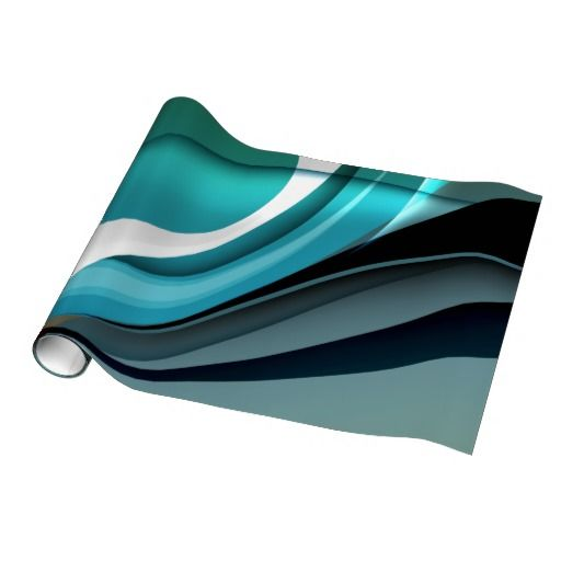 Aqua Curve Abstract Colorful Vector Gift Wrap Paper