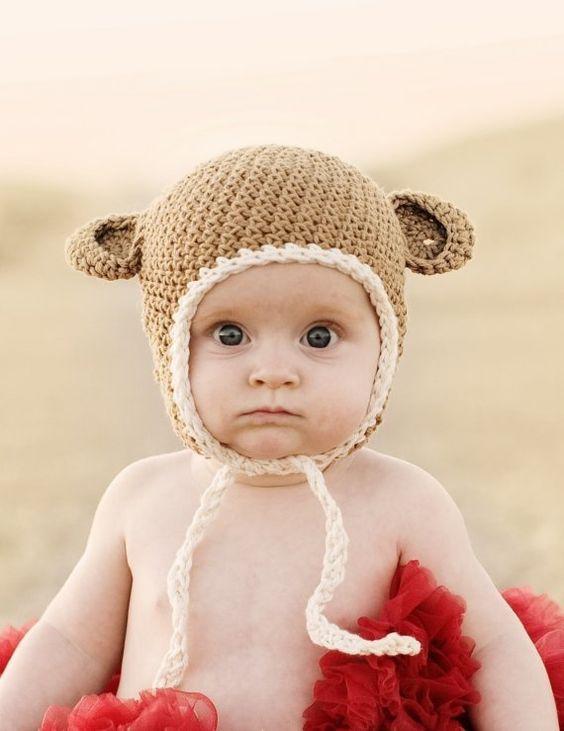 :): Crochet Hat,  Poke Bonnet, Monkey Baby, Baby Monkeys, Baby Hats, Monkey Hat, Baby Bears