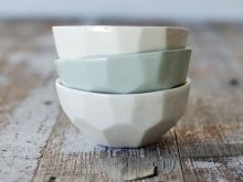 FACETED CERAMIC DIPPING BOWL