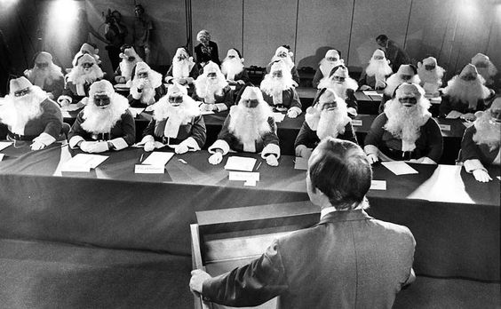 25 Nov 1976 ~ 28 members of the Sears Roebuck Santa Claus School get some final tips before they begin their four-week stintgs as St. Nick