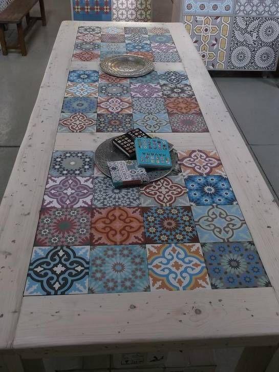 Azulejos hidr ulicos y palets varios pinterest - Mesas con azulejos ...