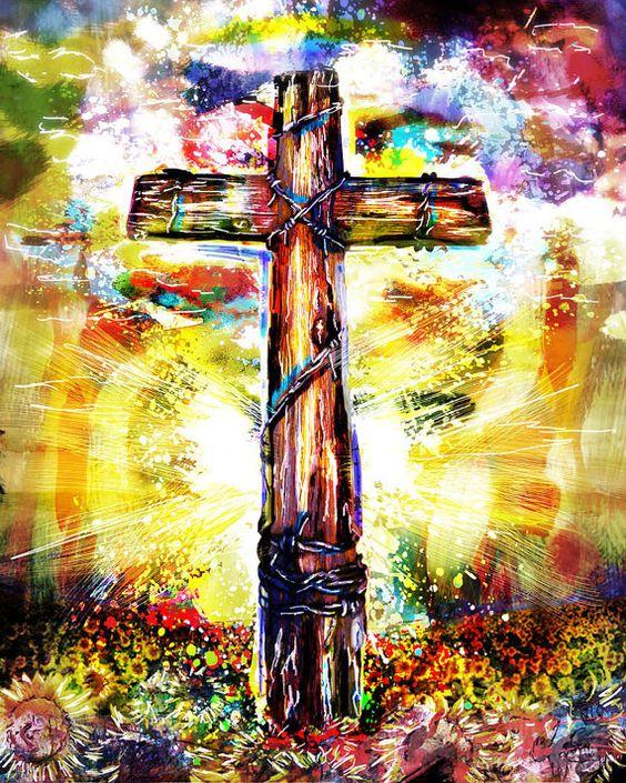 Religious Flat Acrylic: Christian Cross Art, Cross Canvas, Christian Painting