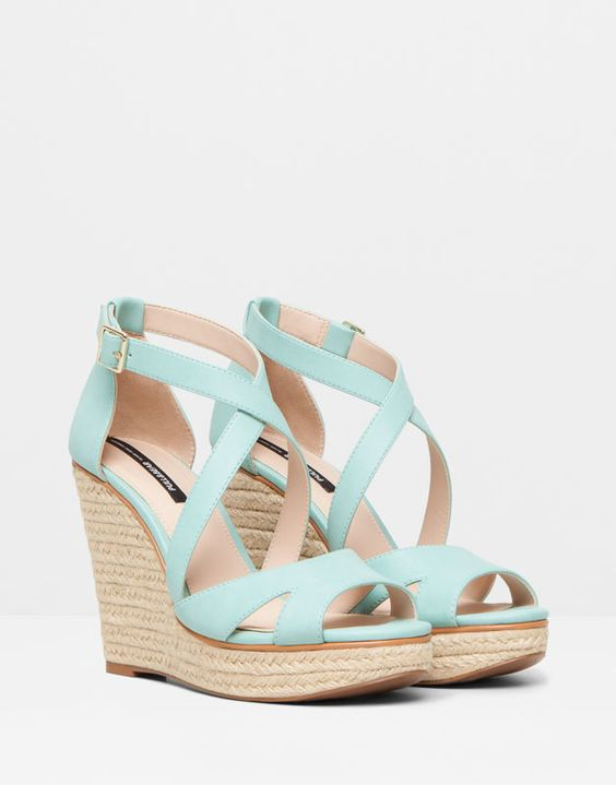 Pull&Bear - mujer - zapatos mujer - cuña yute cruzada - verde agua - 11355011-V2015