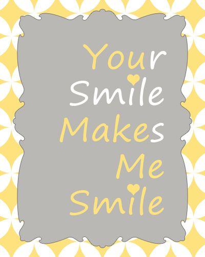 you make me smile...yellow and gray prints