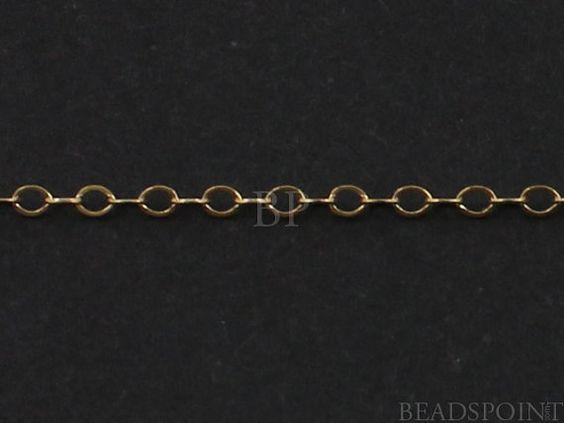 14k Gold Filled Fine Flat Cable Chain Tiny Delicate by Beadspoint, $3.99