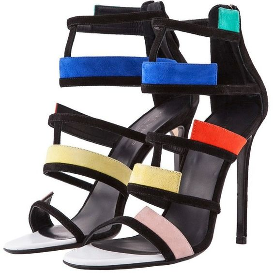 Greymer Multicolor Strap Sandals (575 CAD) ❤ liked on Polyvore featuring shoes, sandals, black strappy shoes, high heel stilettos, black shoes, strappy high heel sandals and suede sandals