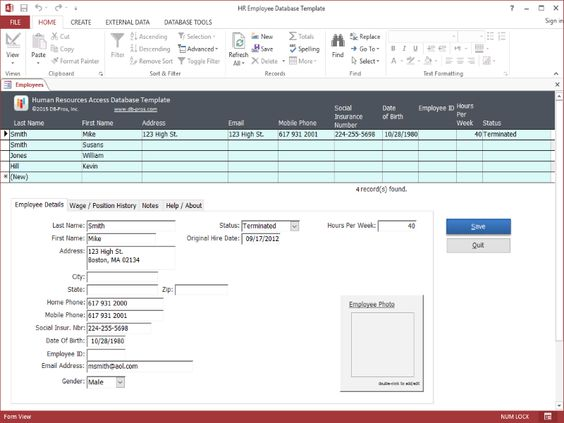 Hr Employee Ms Access Database Template  Technology