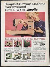 Vintage 1958 Necchi mirella sewing machine Ad print- Simplest ever invented
