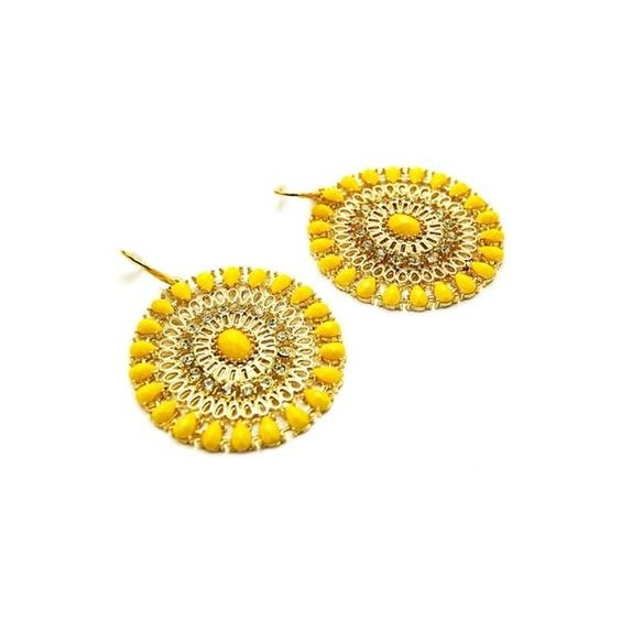 Shani's Large Yelllow Beaded Gold Hoop Earrings ($28) ❤ liked on Polyvore