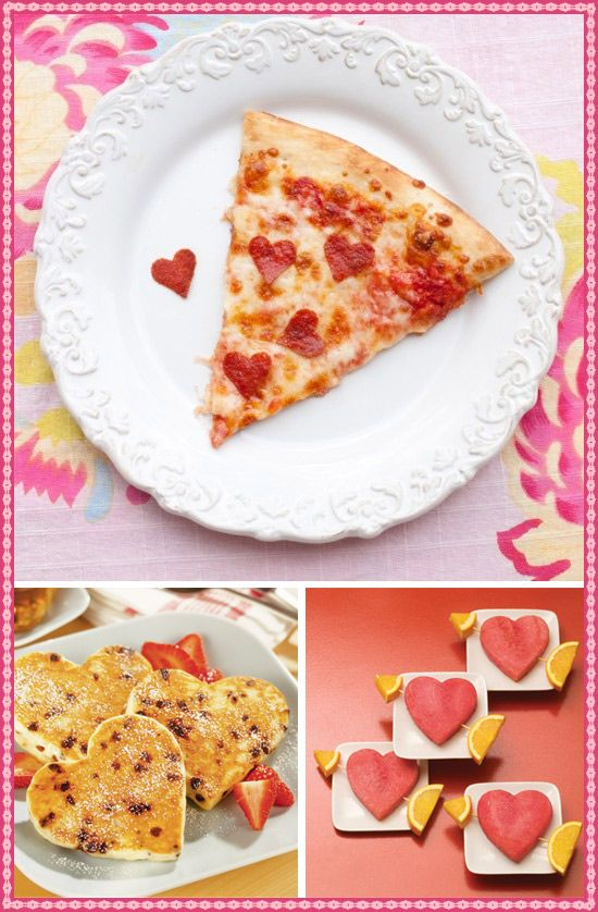 Valentine party food...HOW CUTE!! Love the pizza idea!!