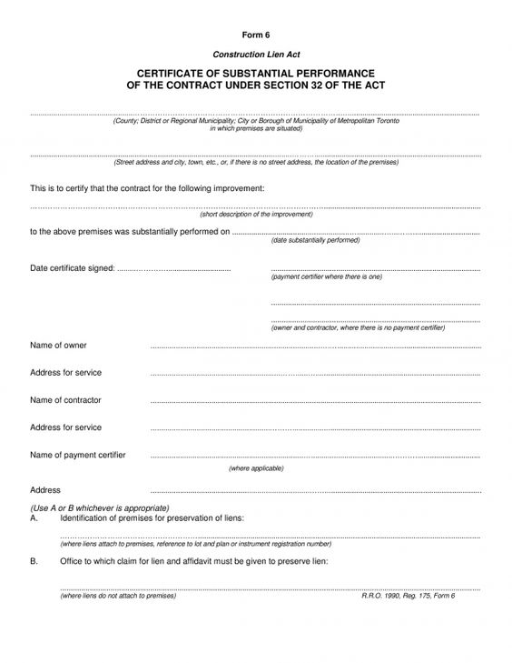 completion template construction certificate substantial - medical certificate download