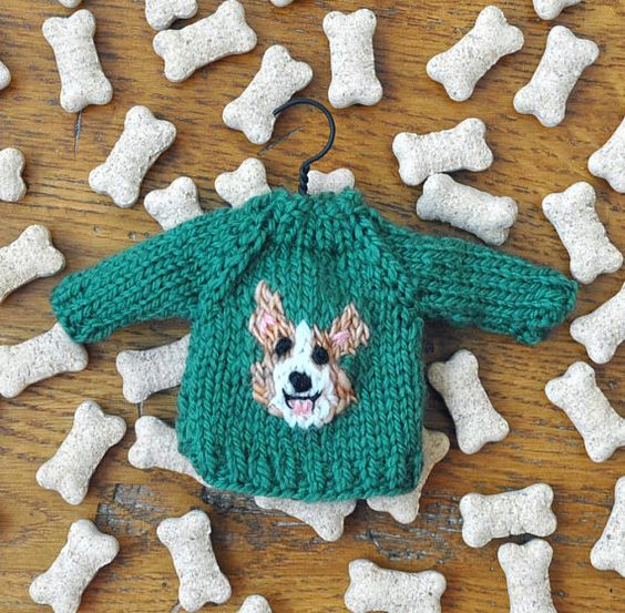 Corgi Hand-Knit Sweater Ornament