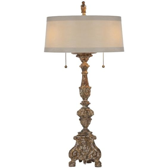 Aidan Gray Grayson Gilded Lamp ❤ liked on Polyvore featuring home, lighting, aidan gray lighting, wood lighting, aidan gray lamps, wooden lamp and distressed wood lighting