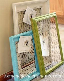 Repurpose frames and chicken wire into chic memo boards! These would make great jewelry hangers also!