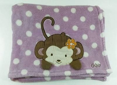 Cocalo Lavender & White Dots Jacana Monkey Plush Soft Baby Blanket Purple  B419