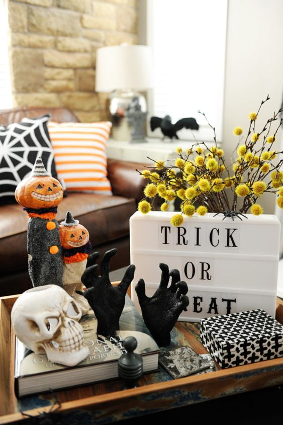 Halloween coffee table vignette found via Pink Peppermint Design.