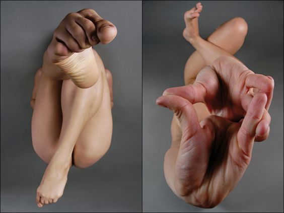 Although these are very basic photographs, it shows the importance of angle. Simply by positioning the person and the camera a cetain way it brings out sections of the body larger and these two photos work very well with an unusual and unrealistic element.