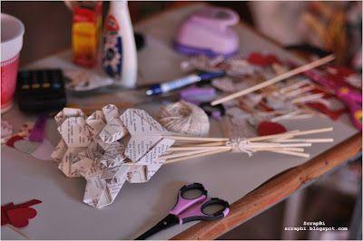 Buquê de corações de origami