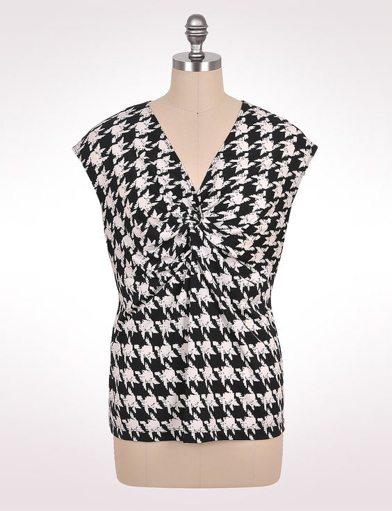 amazing with a bright pencil skirt or skinny jeans/crops - Houndstooth Knot-Front Blouse #plussize