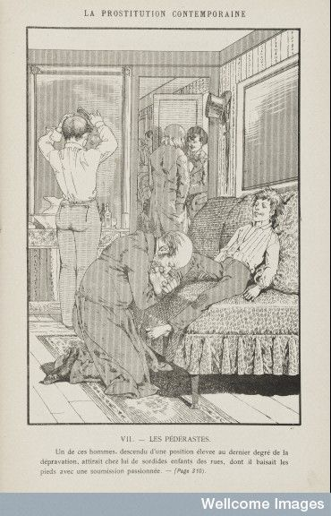 "Prostitution - ""a male brothel, where boys from the street are made available to clients, in this case one man is passionately kissing a boy's foot."" 1884"