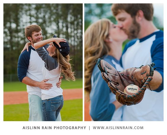 So cute!  Baseball-themed Engagement Session | Photo Shoot | Atlanta, Ga. Photographer | Aislinn Rain Photography #aislinnrain #engagement #wedding