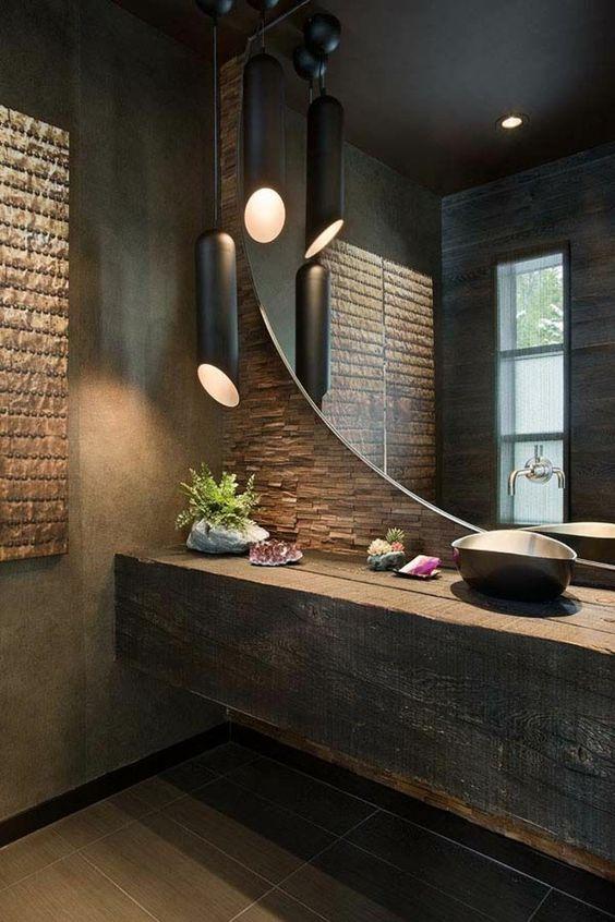 salle de bain marron foncé grand miroir dans la salle de bain zen