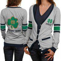 Notre Dame Fighting Irish Ladies Ash Study Hall Long Sleeve Cardigan