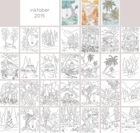 All of my mini #inktober pieces! I'll be adding these to my shop as I paint & frame them. If you absolutely must have an unpainted original message me :) #inktober2go #inktober2015