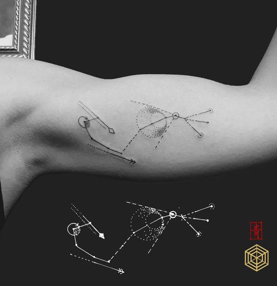 DNA.ink Tattoo Studio. Denia. Alicante. Valencia. Spain. Bohemian Tattoo Style. Art. Lines. Geometric. Dotwork. Scorpio. Constellation. Sei