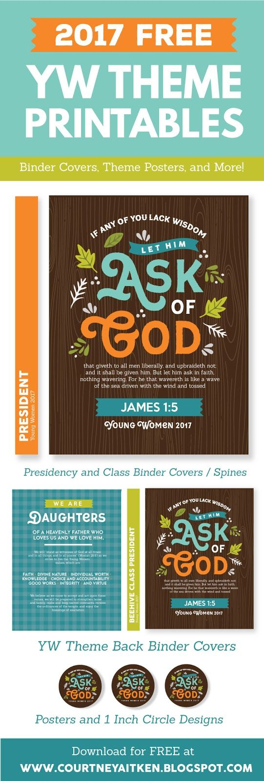 DARLING 2017 Young Women Theme Printables! Including binder covers, posters, spines, and decorative circles! ALL FREE!