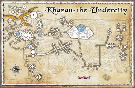 What lies beneath the city of Khazan.  A map of the caverns, tunnels and…
