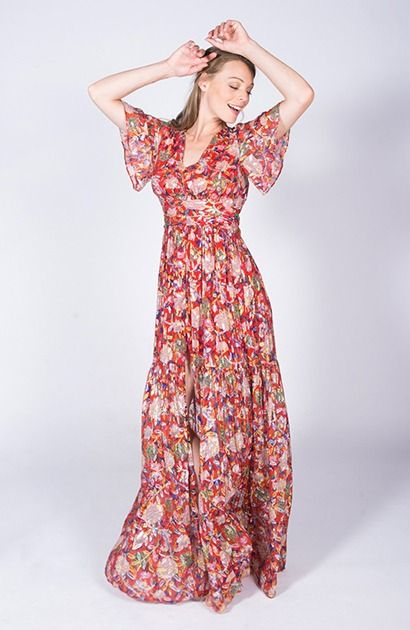 Robe Fleurie Rouge Et Doree Ba Sh Jessy Robe Fleurie Location Robe Robe Maxi