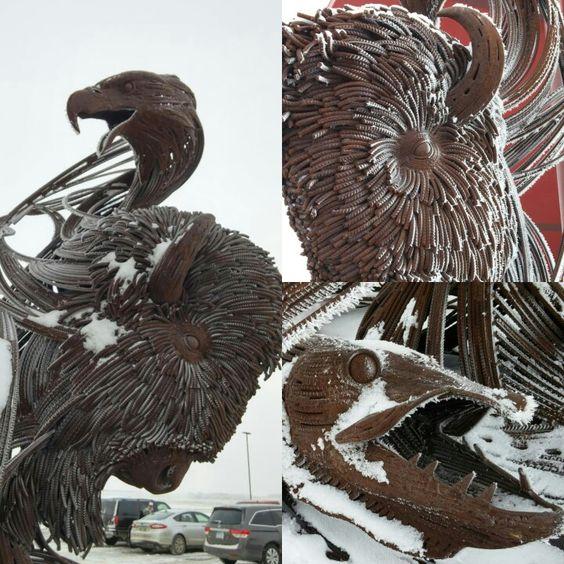 Sculpture at Sky Dancer Casino east of Belcourt, ND. Pictures taken in winter.