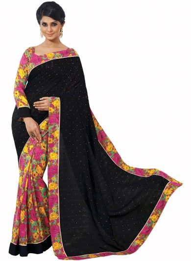 Multicolor Bhagalpuri Silk Half and Half Saree