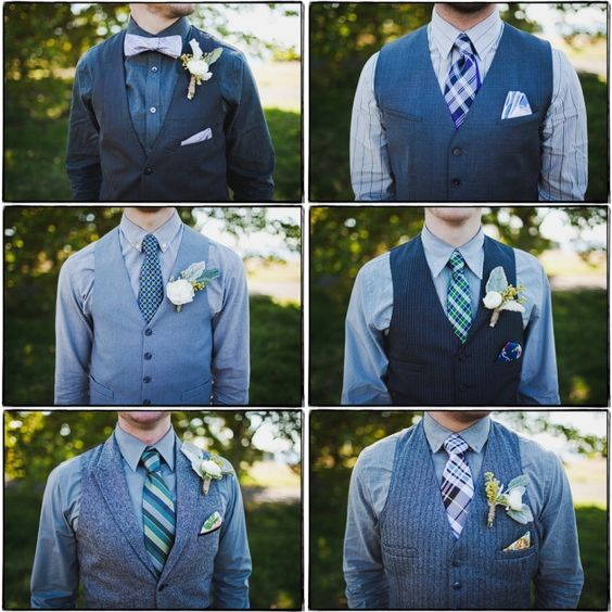 Mis-matched Groom(smen) Varied textures & patterns (Lemongrass Photography). http://www.enamoreventsblog.com/2012/11/what-to-wear-wednesday-mis-matched.html:
