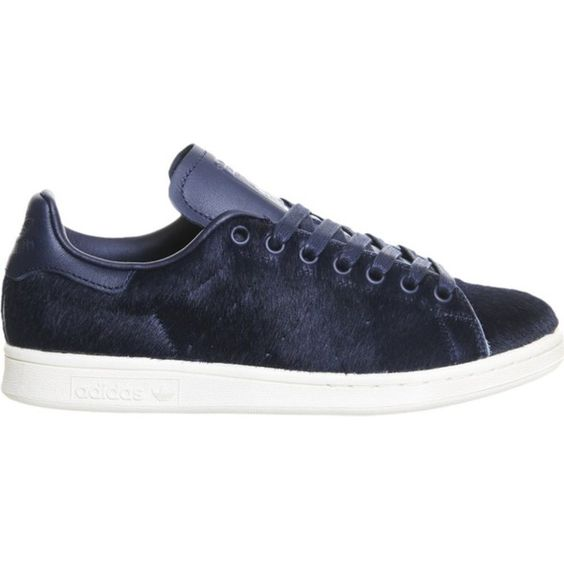 ADIDAS Stan Smith faux pony-hair trainers (€135) ❤ liked on Polyvore featuring shoes, sneakers, navy pony, laced shoes, navy shoes, faux shoes, pony hair sneakers and calf hair sneakers