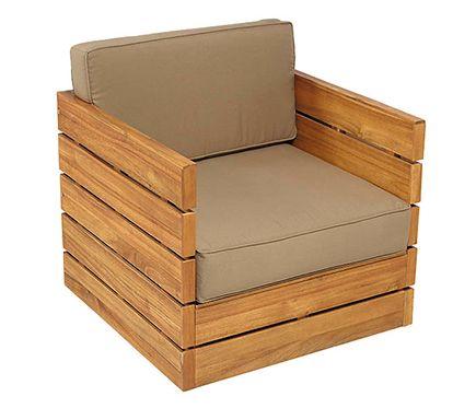 Hacer con paléts  Sillón de madera de acacia y poliéster MONTEVIDEO