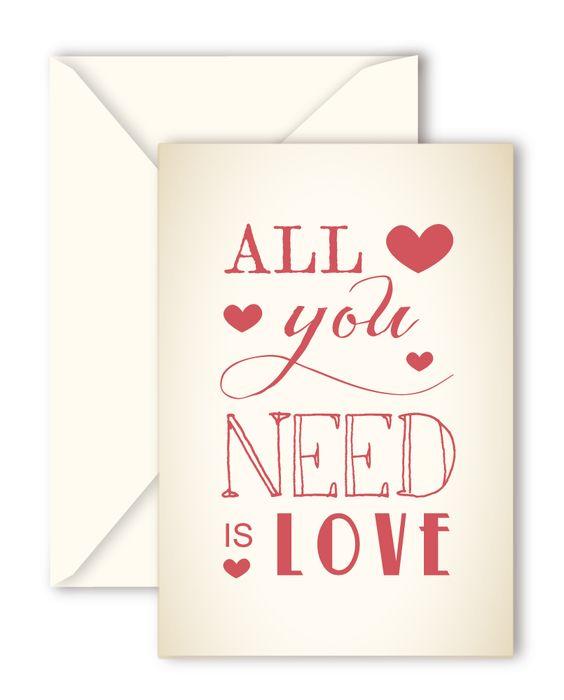 "Tarjetas ""All you need is love"" de Querida Valentina"