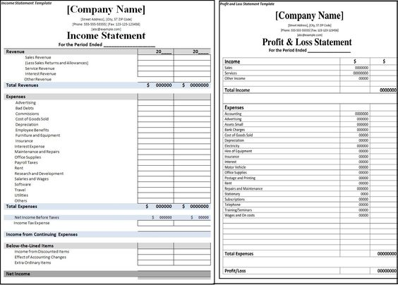 Income Statement Template Statement template - profit loss statement template