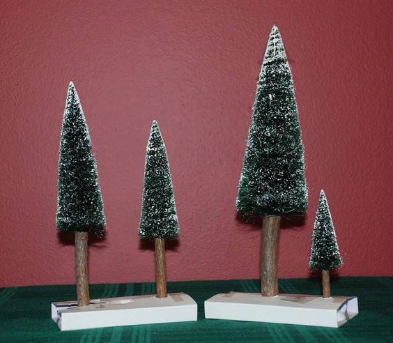 "Dept 56 ""VILLAGE FROSTED FIR TREES"" With Real Wood Trunks, Set of 4 #52605 MIB"