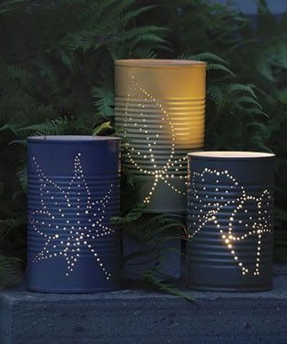 Tin can lanterns. Tin cans are not just for stacking up in your cabinet, tossing in the trash or sending to the recycle bin. Combine those with a rope, paints, craft papers and a generous helping of crazy imagination, and you will have a cool creation on your hands. http://hative.com/recycled-tin-can-craft-ideas/
