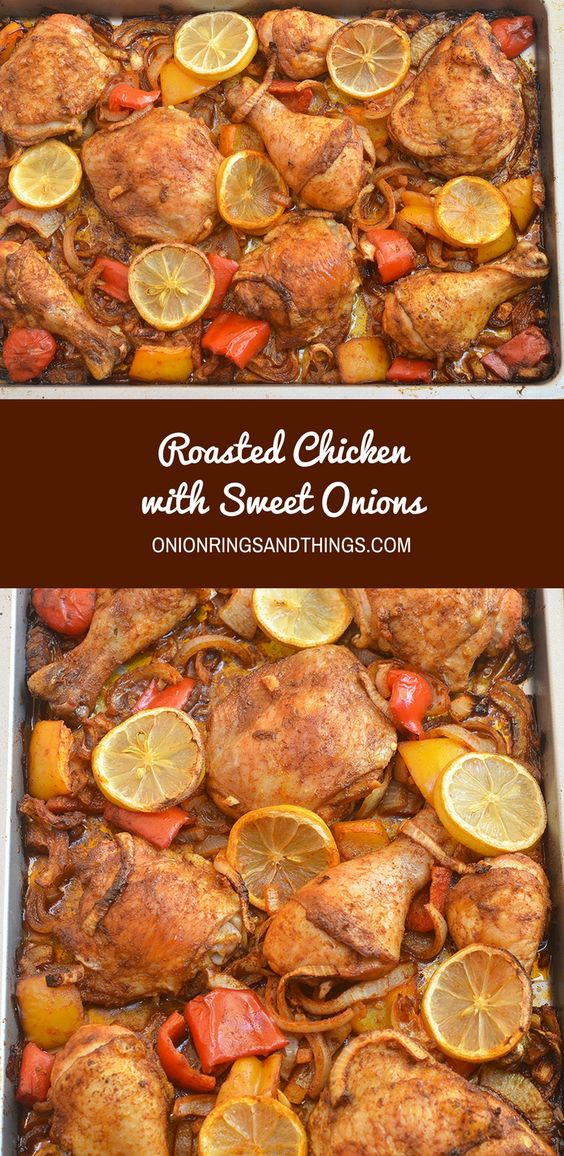 Roasted Chicken with Sweet Onions flavored with white wine vinegar ...