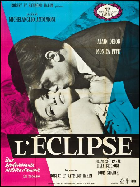 L'eclipse (eclisse) by Michelangelo Antonioni with Alain Delon and Monica Vitti. French poster