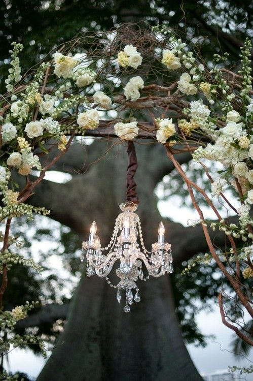 Chandelier and flowers