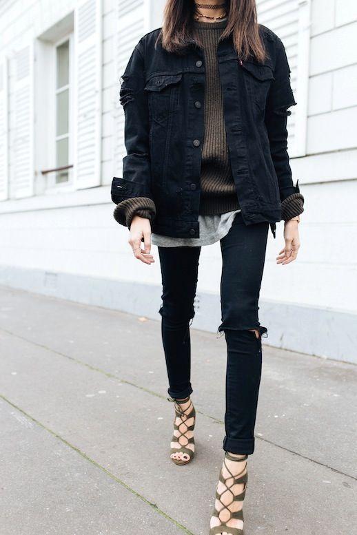 5 Ways To Make Wearing Denim On Denim Look Good How To Wear Denim Jacket Oversized Black Denim Jacket Denim On Denim Looks